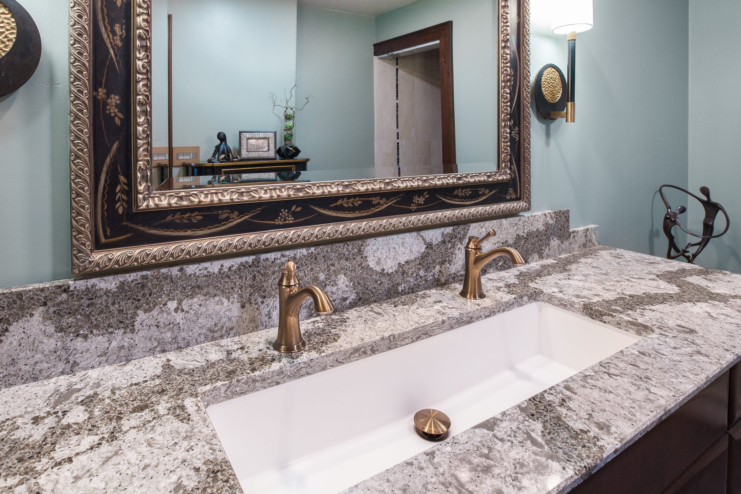 Grey Granite Countertops Gold Sink Faucent Wide Bathroom Mirror