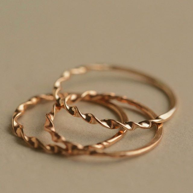 14k Twisted Stacking Rings & the antique stick pin and tiniest sterling spoon they were inspired by • #rrbackstory •