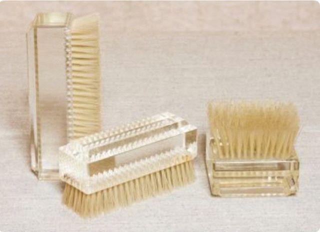 Vintage lucite grooming brushes. via @aerostudios