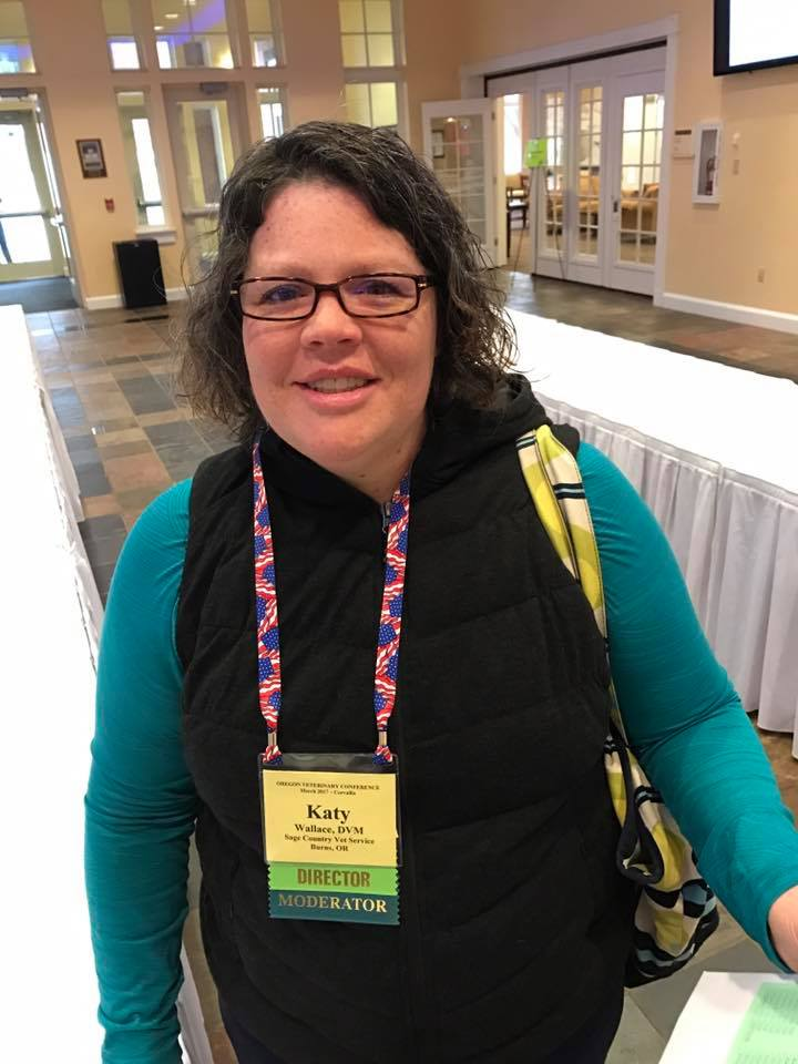 Dr. Katy is on the Board of Directors for the Oregon Veterinary Medical Association and represents 10 Eastern Oregon Counties this is her at the OVMA Conference in March 2017