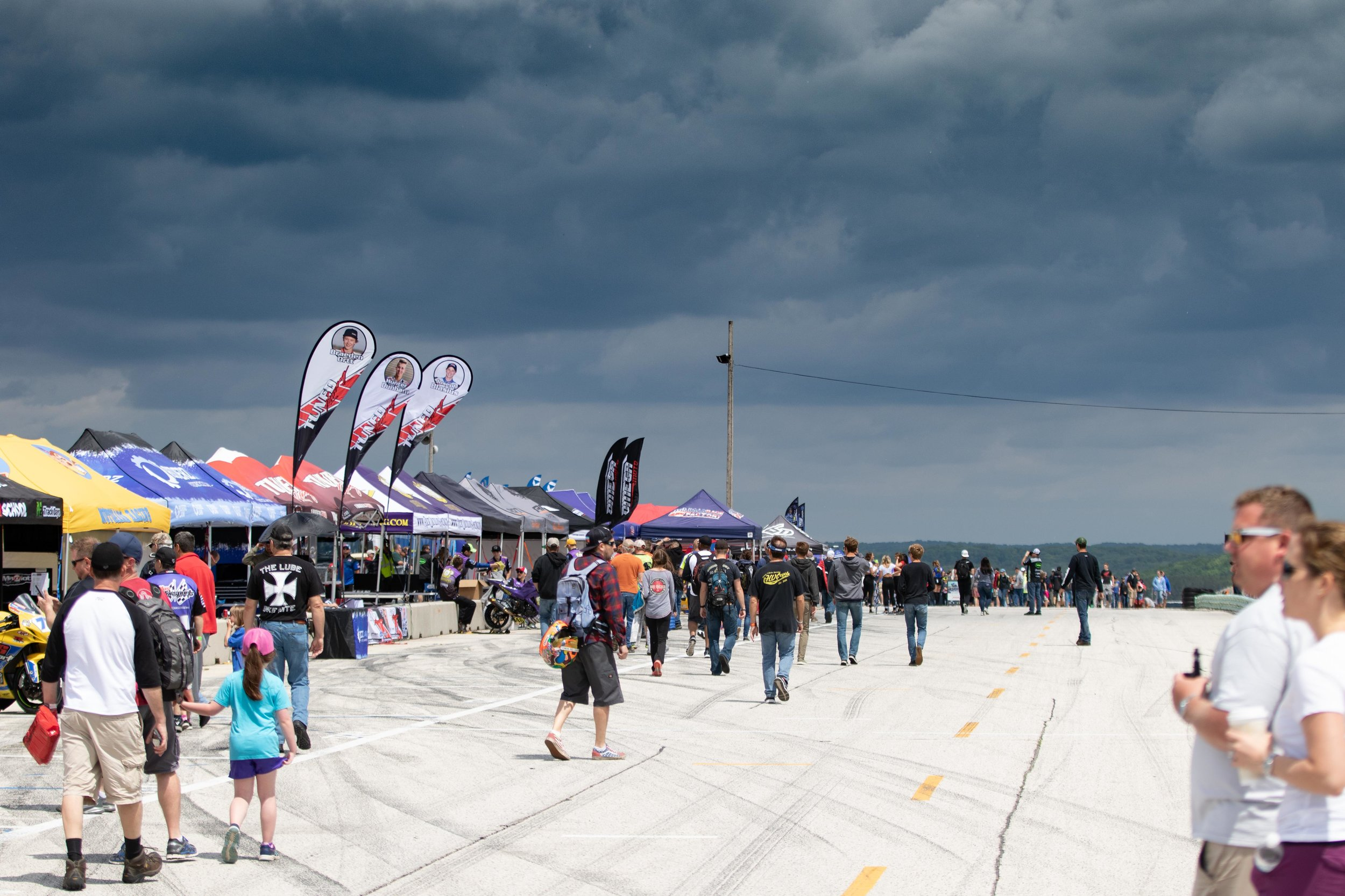 Clouds rolling in during the Fan Walk session on Sunday.