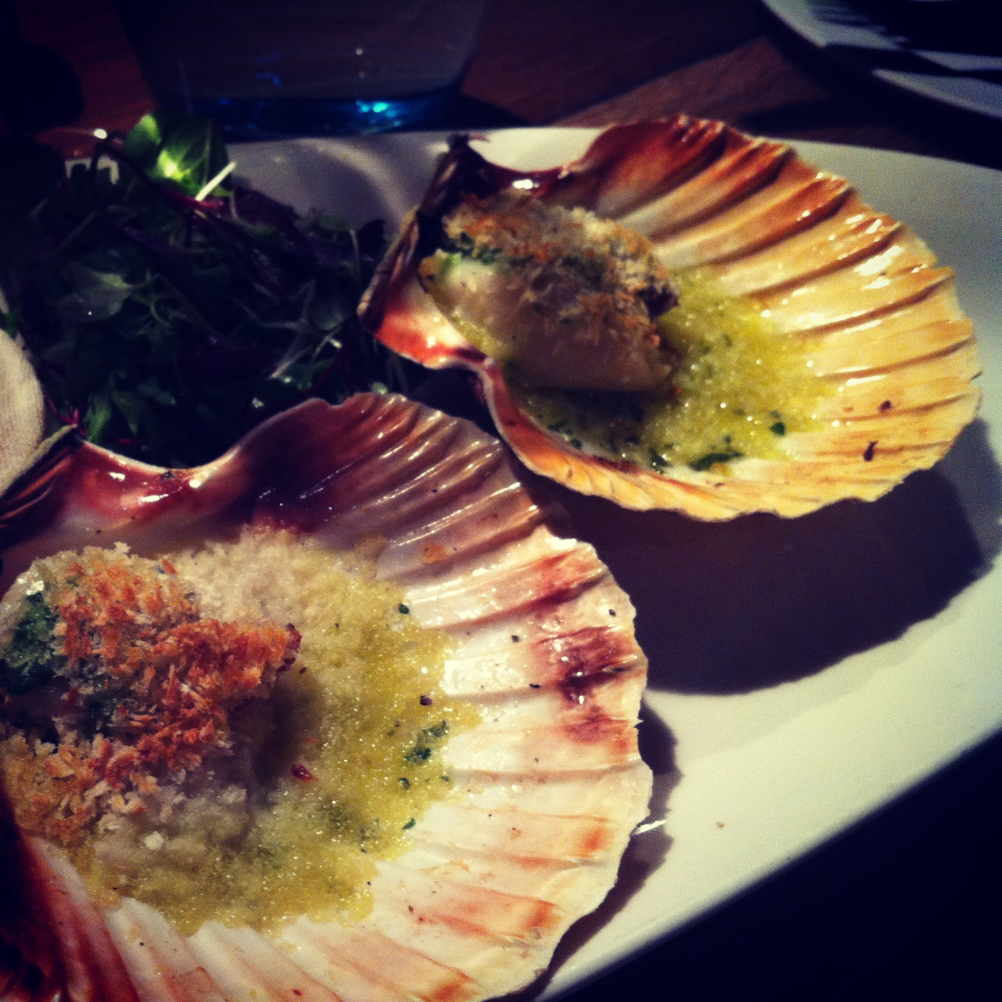 Grilled scallops at Fishworks, London