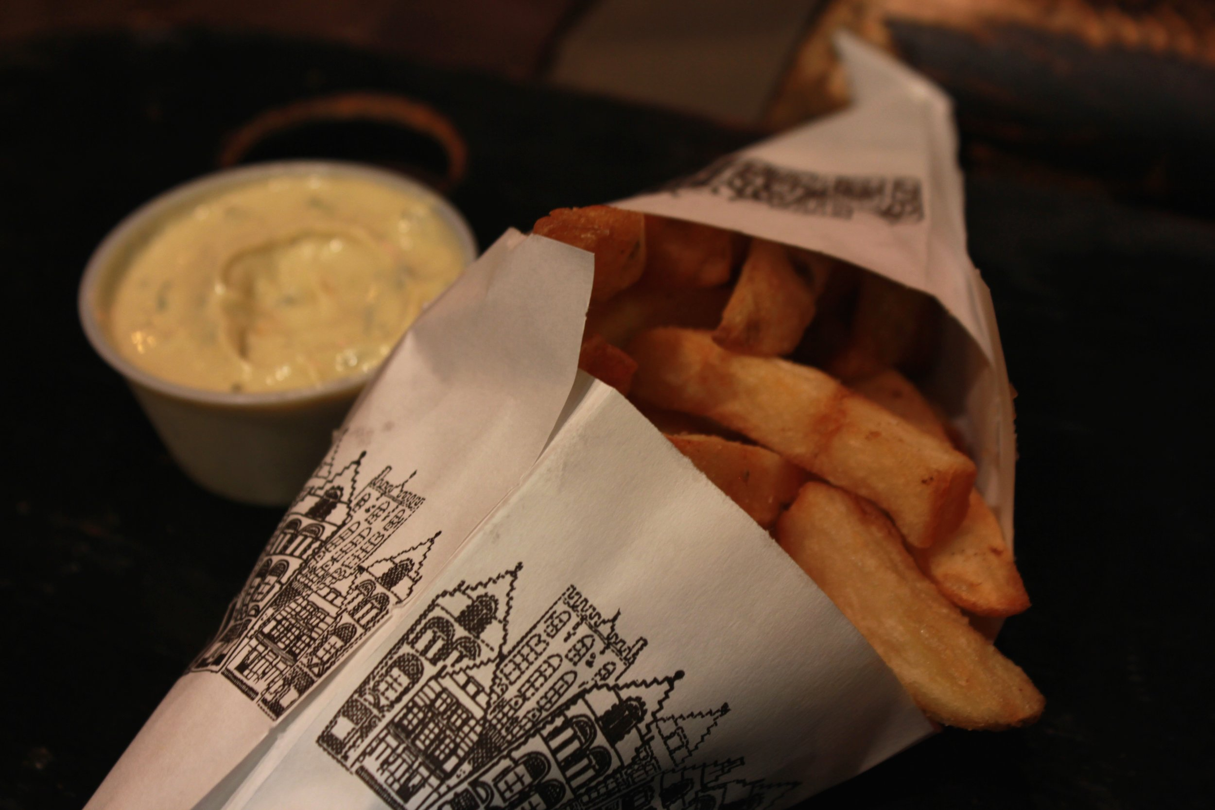 Belgian fries with a rosemary garlic mayonnaise at Pommes Frites