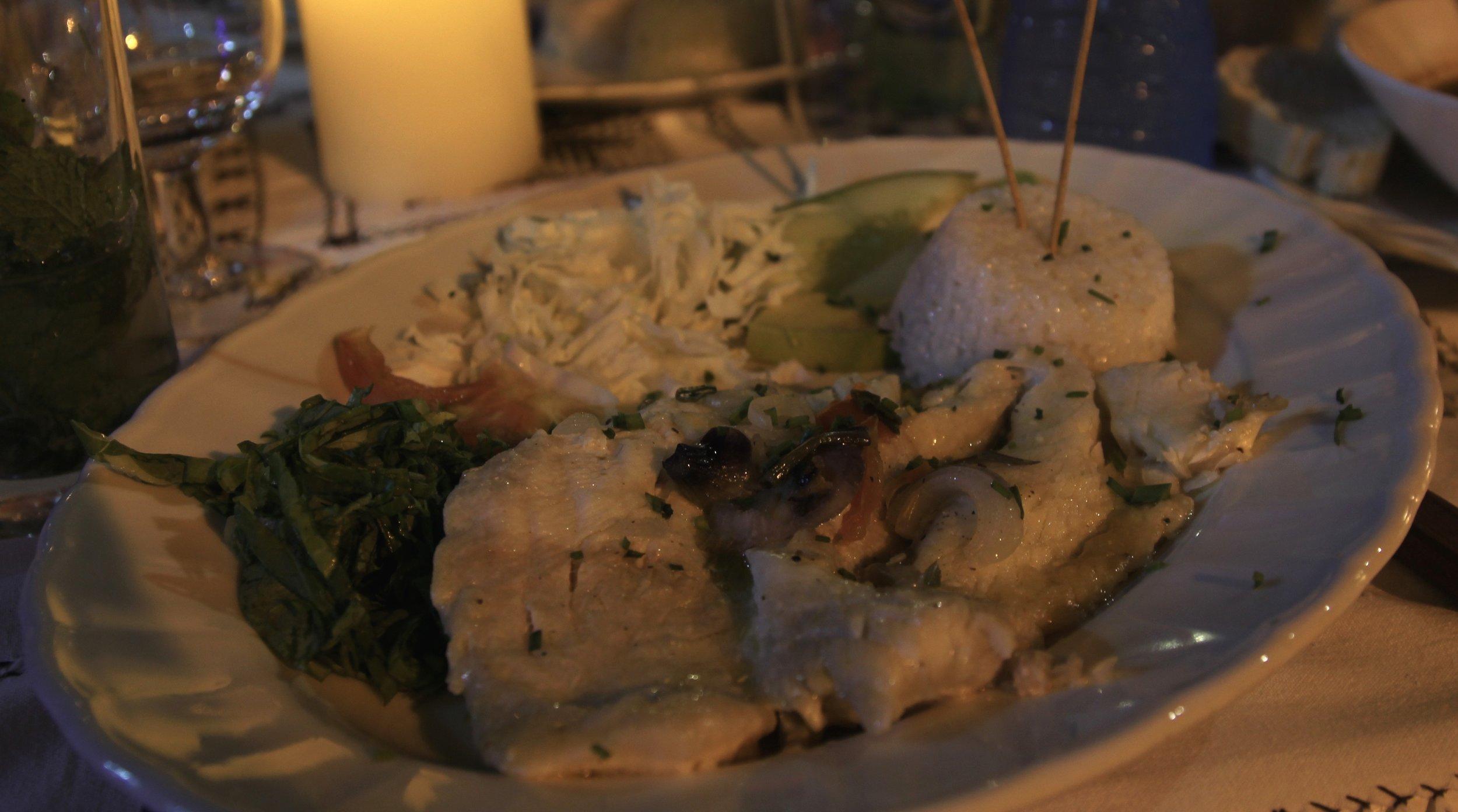 food in Cuba - Fish and rice at Los Conspiradores