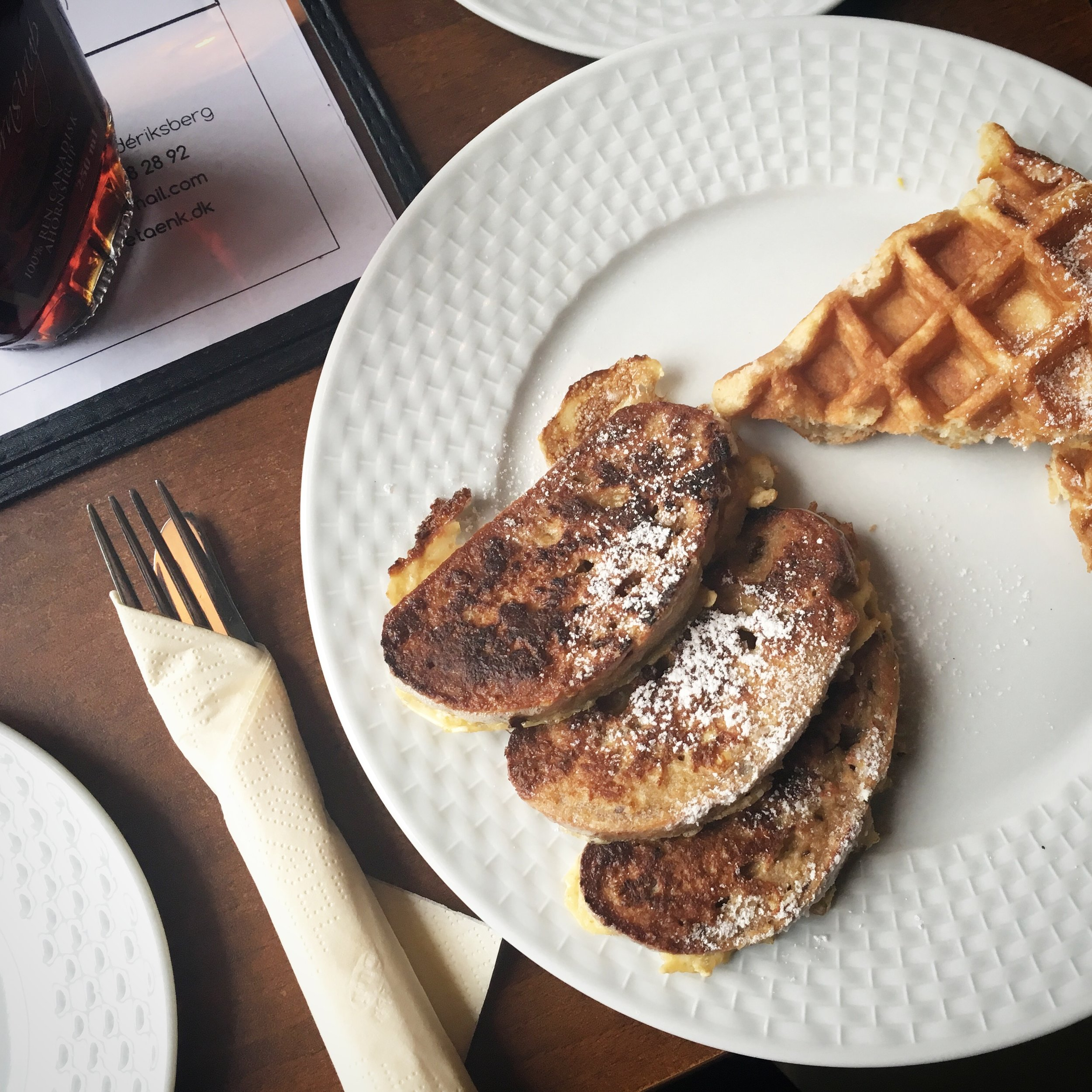 French toast and waffles at Cafe Taenk in Copenhagen
