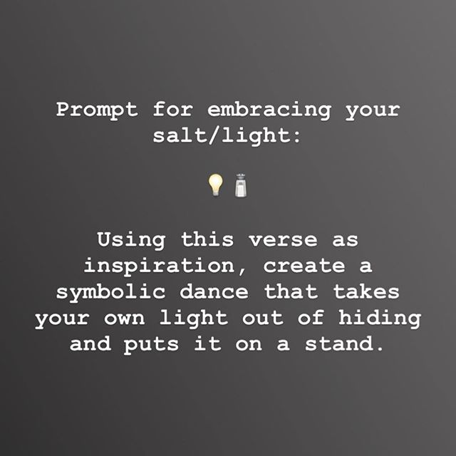 "Prompt for embracing your salt/light!⁣ (swipe➡️) ⁣ We will never make the difference that we want to make until we become ok with being the brightest spot in the room.⁣ ⁣ I do NOT mean being the most dominant person in the room! Or the person who grabs all the attention. Or the person who is invisible for the sake of being ""humble"".⁣ ⁣ We have to get on the same page with God about how he thinks of us and how important our voice and flavor is to Him. Commit to valuing yourself the way God does, and to shine so that the whole world sees Him inside of you!⁣ ⁣ Take some time today to ask the Lord what areas you are keeping dim where He has called you to shine. ⁣ ⁣ Follow the prompt for a movement devotional exercise, and journal what you hear the Father saying.⁣ ⁣ Save this post if you want it for future reference! And let me know how you experience it.❤️⁣ ⁣ #beingsalt #beinglight #movementjourney #healingdance #awakeneddancer #saltforthesoul #staysaltymyfriends"