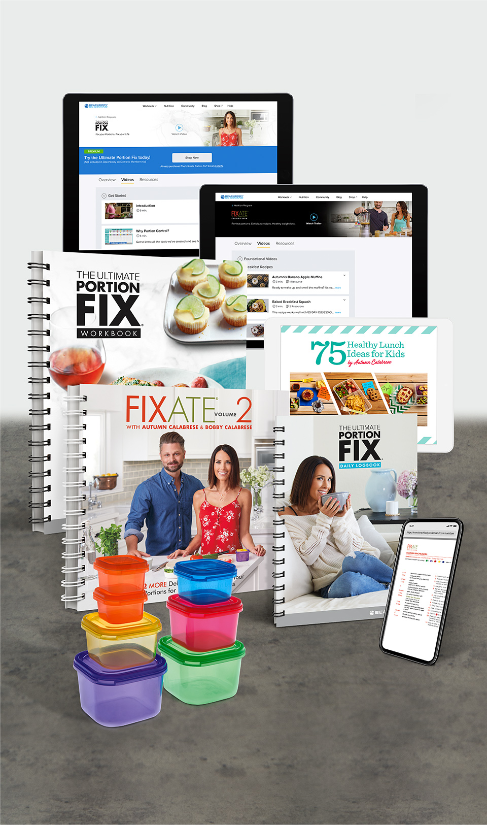 """THE ULTIMATE TOOLS - Get over $2,000 worth of nutrition info with this program, and a 30-day money-back guarantee.30+ Step-by-Step VideosGetting started is as easy as pressing """"play""""WorkbookTake notes as you watch the videos, and complete other written exercises to guide your journeyDaily LogbookTake a minute each day to track what you eat, how you feel, and what's going on with your bodyColor-Coded ContainersUse these to portion out every meal, even snacks and dessertsFIXATE Vol. 2 CookbookDiscover over 100 brand-new recipes that work with your containersFIXATE Cooking ShowThis container-based cooking show is a great resource for delicious meals75 Healthy Lunch Ideas for Kids PDFGive your kids healthy meals they'll love to eatInsulated Tote BagKeep your hot food warm and your cold food cool when you're on-the-go (only on select offers)NUTRITION AppAccess the program, stay on top of your daily container use, your portions, Shakeology, and stay in touch with your groupBonus Workouts21 Day and 21 Day Fix EXTREME shot in real time with a new workout every day, updated for faster progress"""