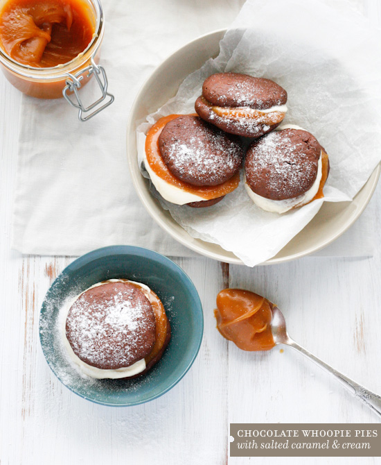 recipe choc whoopie pies salted caramel