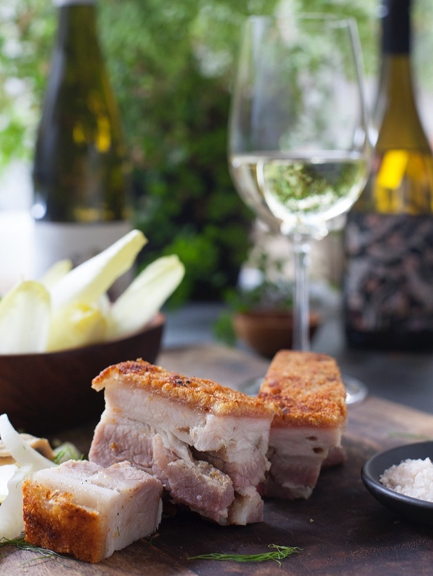 Crisp pork belly with fennel, witlof and white anchovy salad