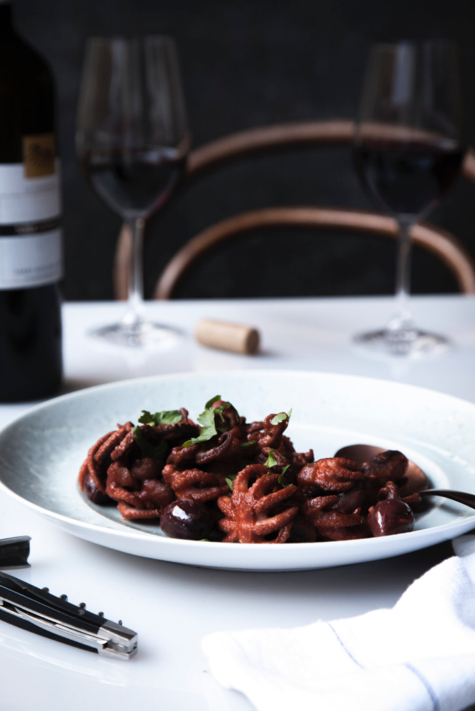 Baby Octopus in red wine and tomato