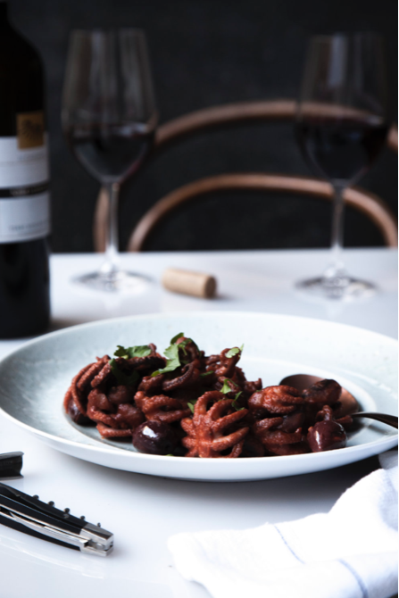 Baby Octopus in red wine and tomato recipe