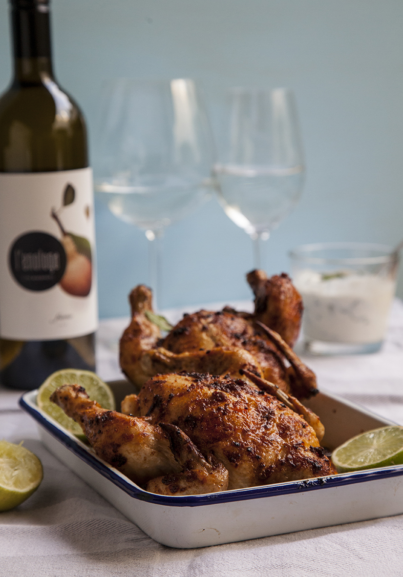 Roast Chicken with Harissa   Recipe    Calyxwine Lees storm Chardonnay 2018 - Strathbogie Ranges, Vic    Anne-Sophie Fleurie Les Cocottes 2017 - Beaujolais, France    Domaine Rimbert 'Cousin Oscar' Cinsault 2015 - Languedoc, France