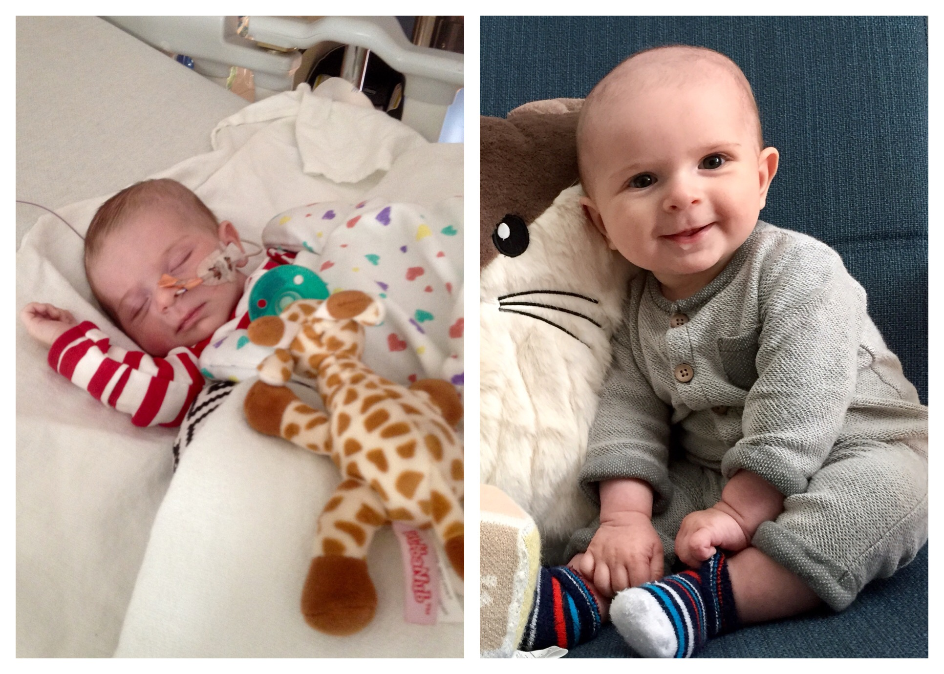Precious Tanner in the hospital as a newborn (L) and thriving today (R) after finally being diagnosed and treated for his tongue tie.