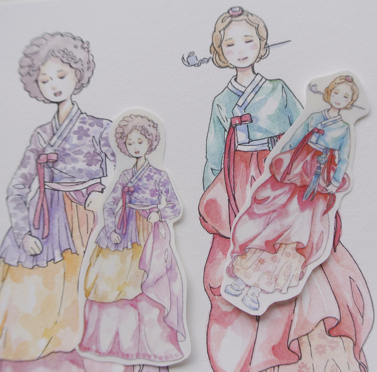 Hanbok-stickers-illustration-etsy