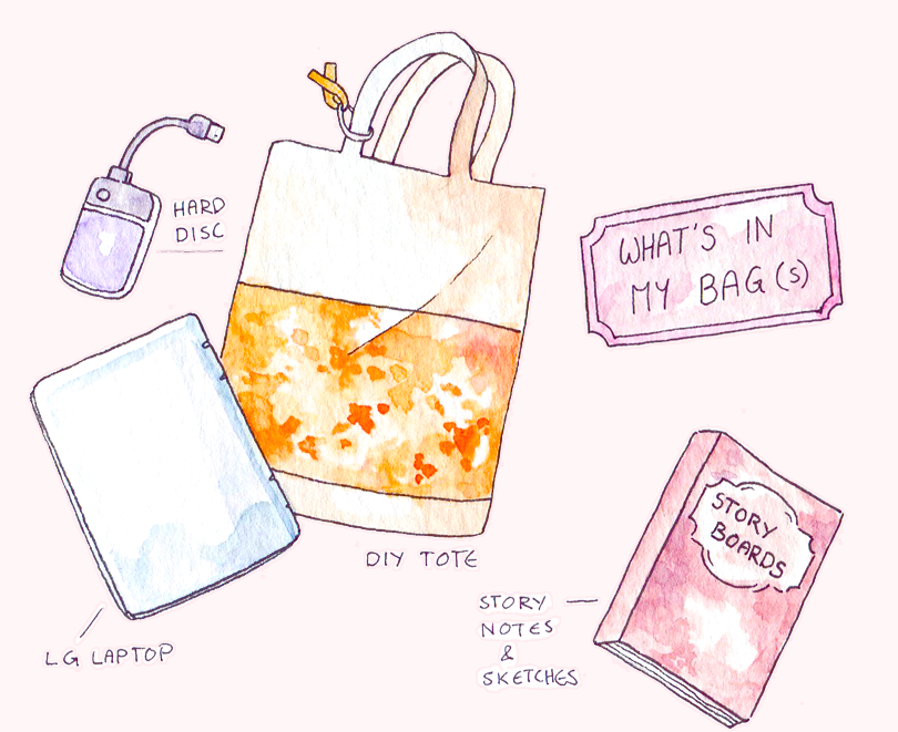 Working in public as an artist: My essential bag content for work breaks in coffee shops or when going on short trips. Freelancing means needing a laptop every single day, and I'm always optimistic about finding time to work on storyboards on the side.