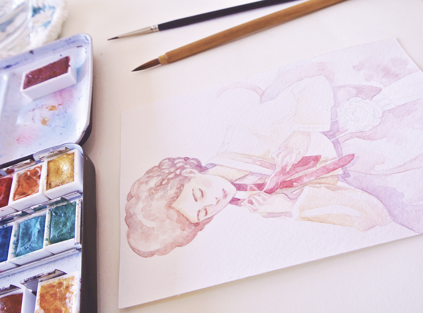 First step by step image of early watercolor layers for the Year of the Rooster Zodiac Sign illustration. Lady in a Hanbok, Postcard artwork.
