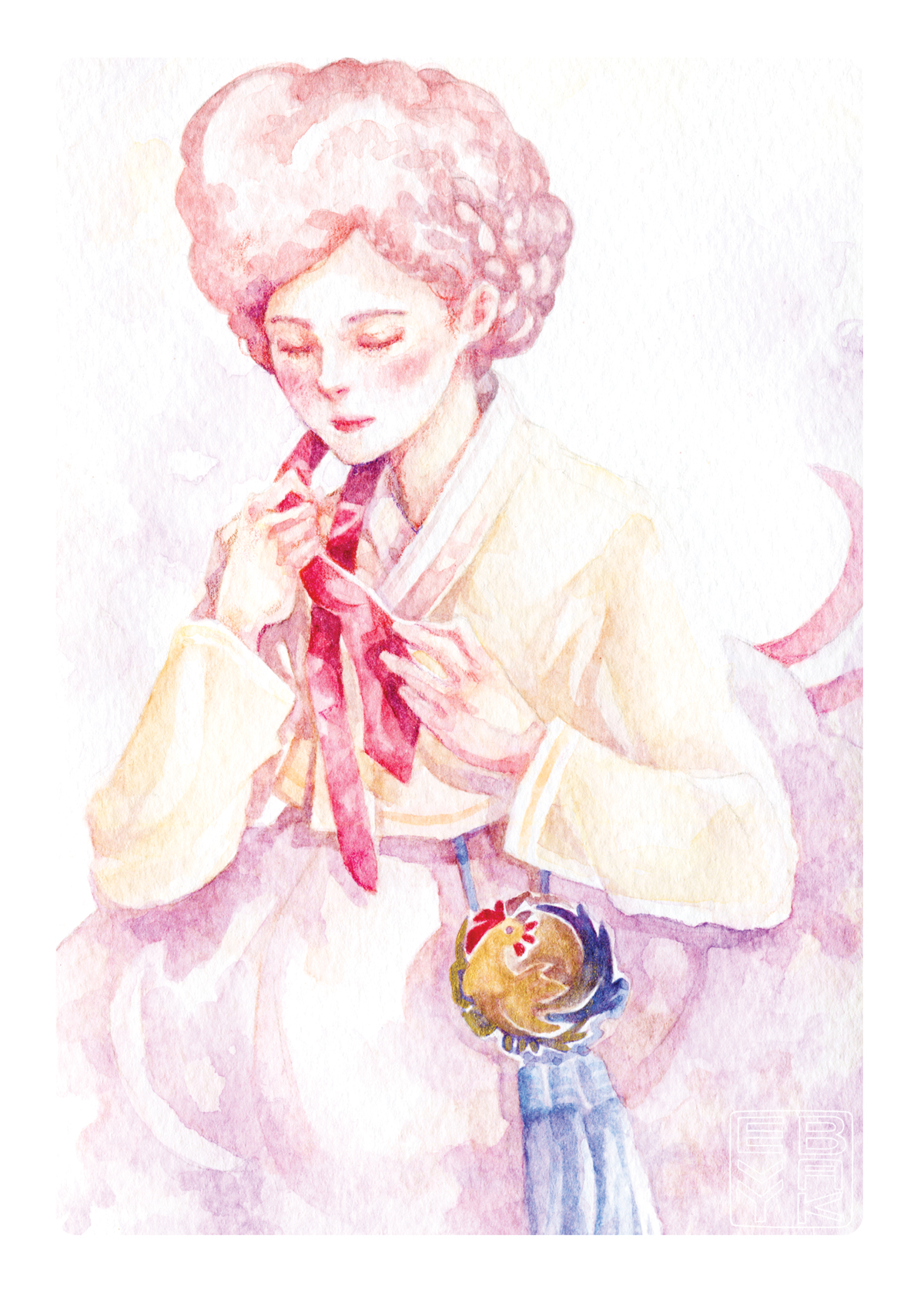 Year of the Rooster - Korean and Chinese New Year, Zodiac Sign of the Rooster, Gisaeng inspired Hanbok watercolor illustration, with poster prints and postcard available on Etsy.