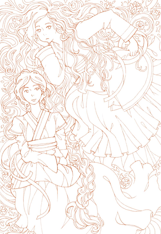 manga-coloring-card-hanbok