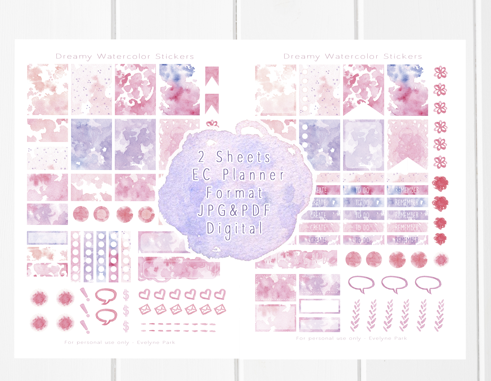 My hand drawn watercolor textures and patterns planner sticker set. The printable file can be found in my Etsy shop 'evydraws'.