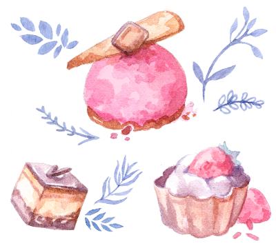 Dessert and patisserie illustrations, watercolor drawings combined with floral elements.