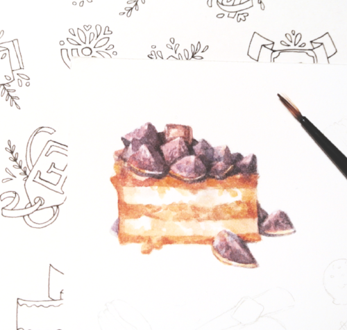 Found this fig cake at the Espresso Lounge in Jeju City, Korea. Korean bakeries and cafes are so creative when it comes to their design, both interior and food. Just had to draw this cake.