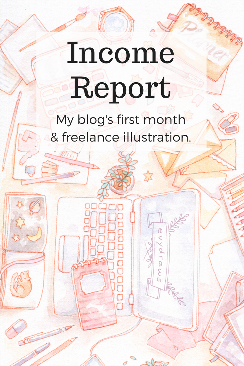 My very first income and blog stats report! A starting point for 2017, as this blog is only 2 weeks old - but I've been working as an illustrator for more than five years. With this blog, I want to slowly transition into more personal projects instead of freelance work, develop my creative business and Etsy shop - and share the journey with you! There'll probably be a lot of ups and downs since blogging about illustration is maybe a bit of a niche thing... but I hope to give some insight on how an illustrator, blogger and work-at-home freelancer can earn money on the side.