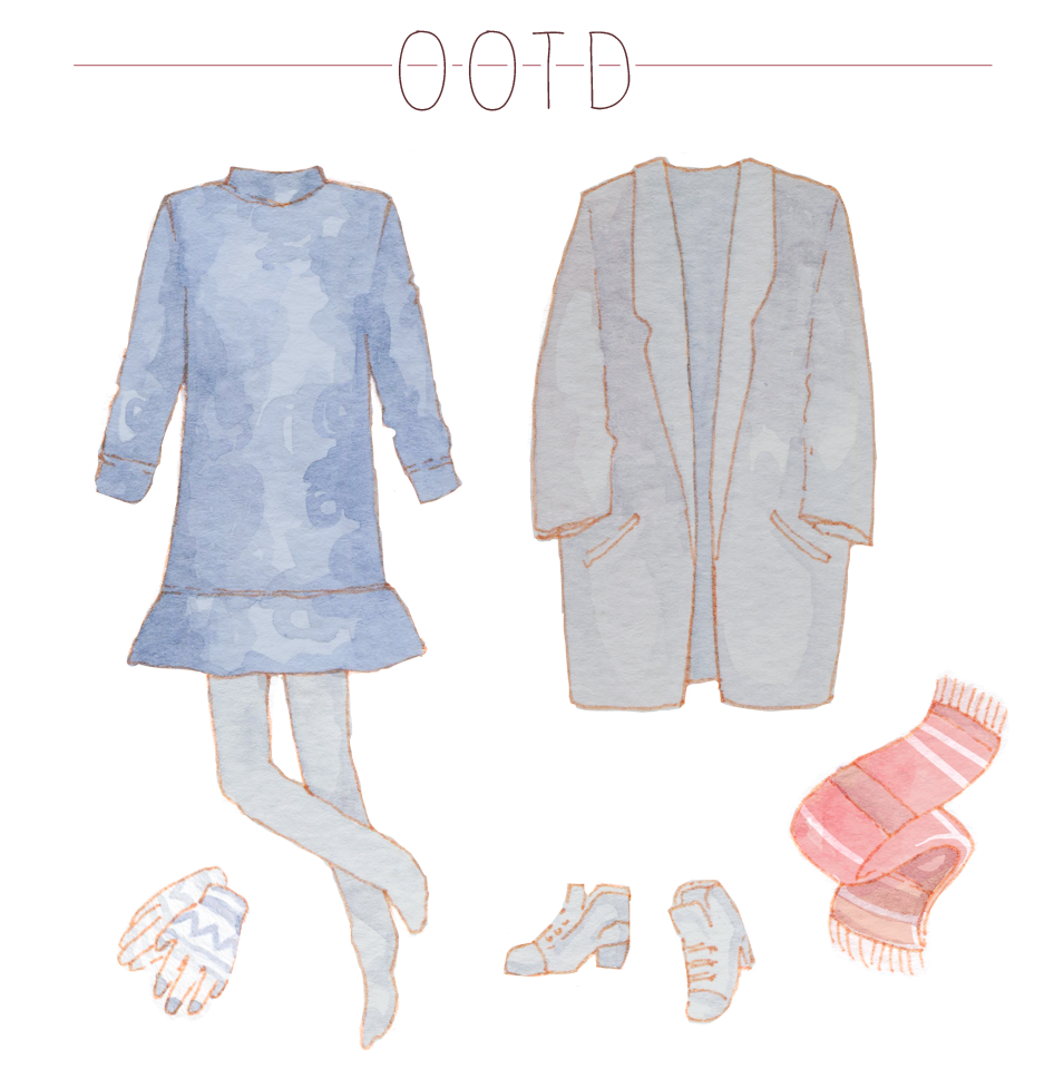 Minimalist outfit for a winter day in Seoul, Korea. OOTD Sketches & Illustrations on the blog.