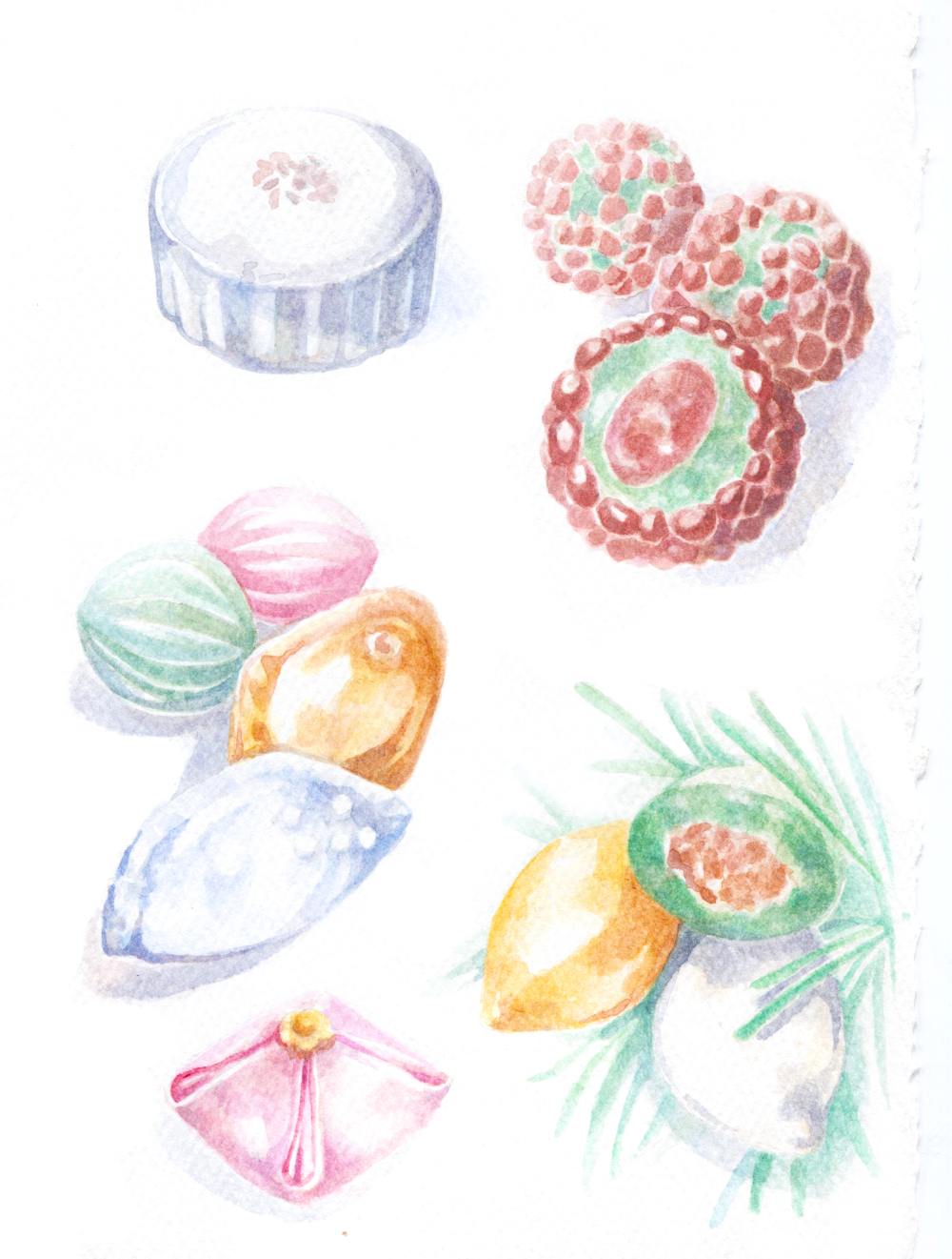 Korean rice cakes 'Ddeok', watercolor illustrations. Songpyeon, Omegi-Ddeok (typical rice cake of Jeju Island) and Baekseolgi.