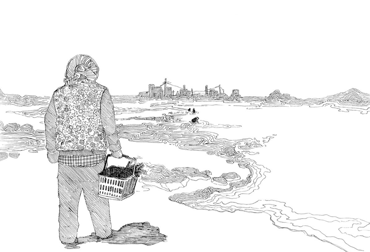 A Korean 'halmoni' (grandmother) collecting seaweed along the shores of Jeju.