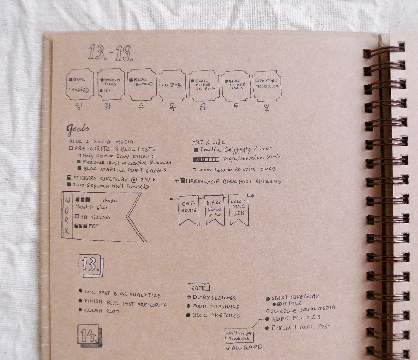 Bullet journal weekly overview for February. I love organizing my different tasks according to their fields - work, personal projects, blogging... that one little habit tracker for yoga and exercising looks sad, though.