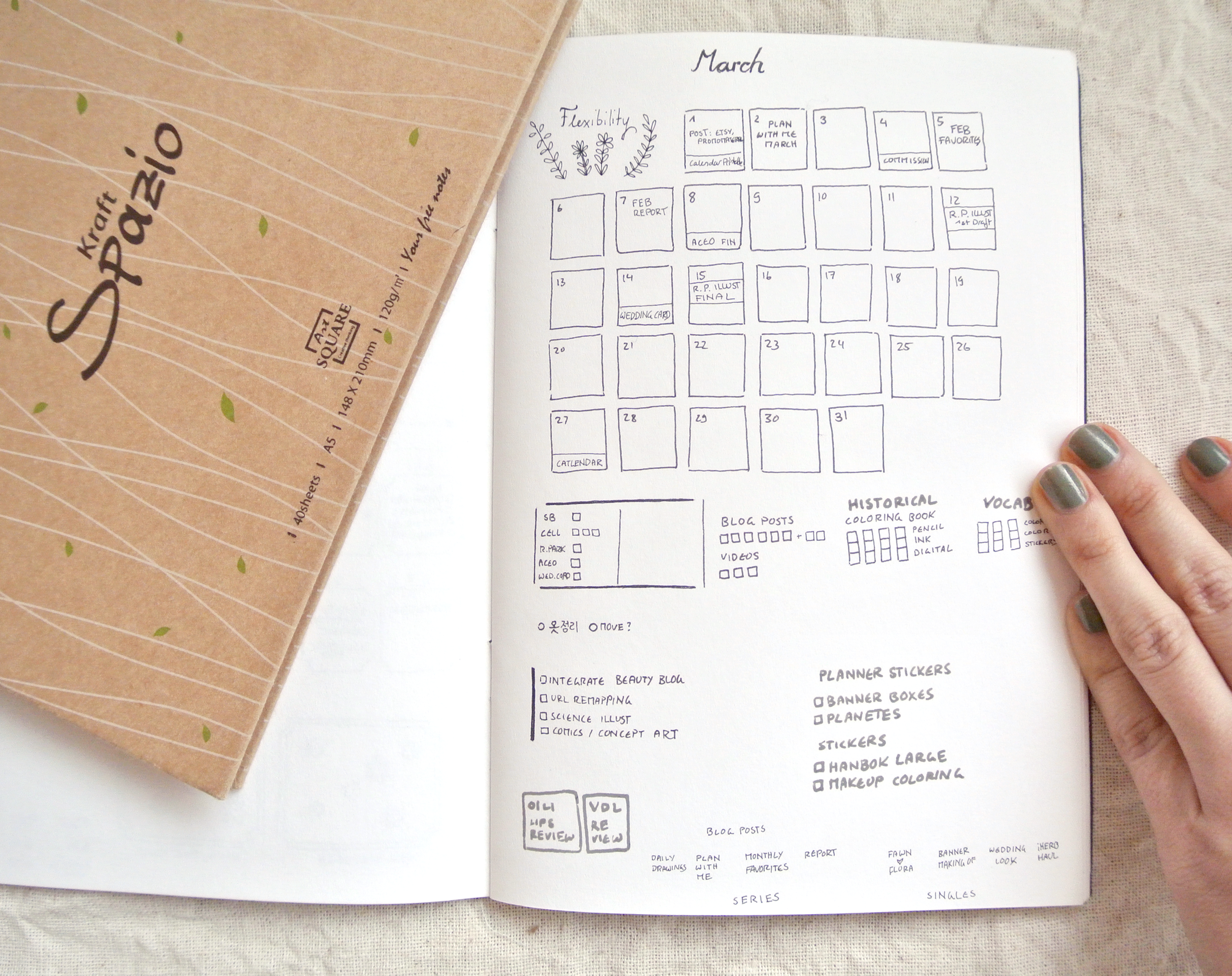 Monthly bullet journal setup for March - with the motto 'Flexibility' since the later half of the month will probably be a mess due to moving to a new place. Keeping it small, simple and minimalistic, focused on to-do lists instead of daily goals.