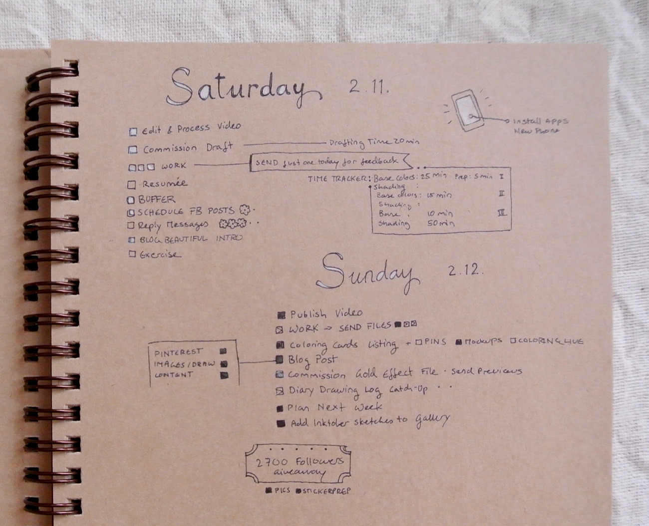 Experimenting with white colored pencil on my brown Kraft paper journal pages. I need to get white gel pens! February bullet journal daily to-do lists.