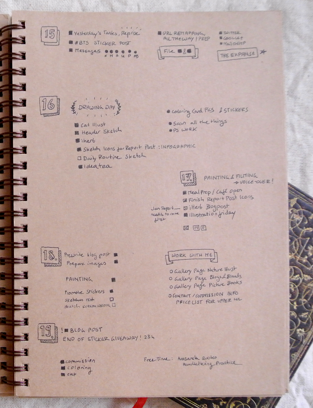 Bullet journal daily tasks and to-do lists. I fell behind on sketching and filming because there was just so much else to work on!