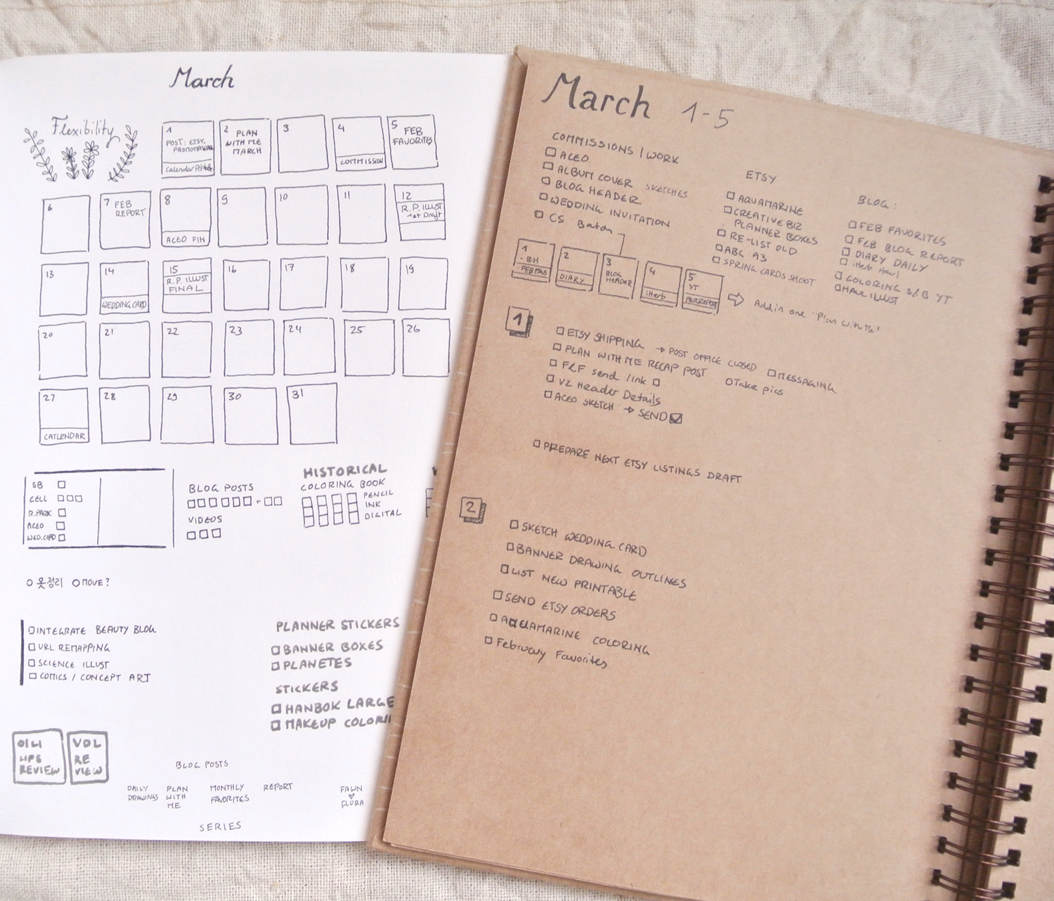 Bullet Journal spreads for March - monthly and weekly/daily overview. I like to keep it tiny and simple, and since I hate going back and forth between pages, I'm using two seperate journals.
