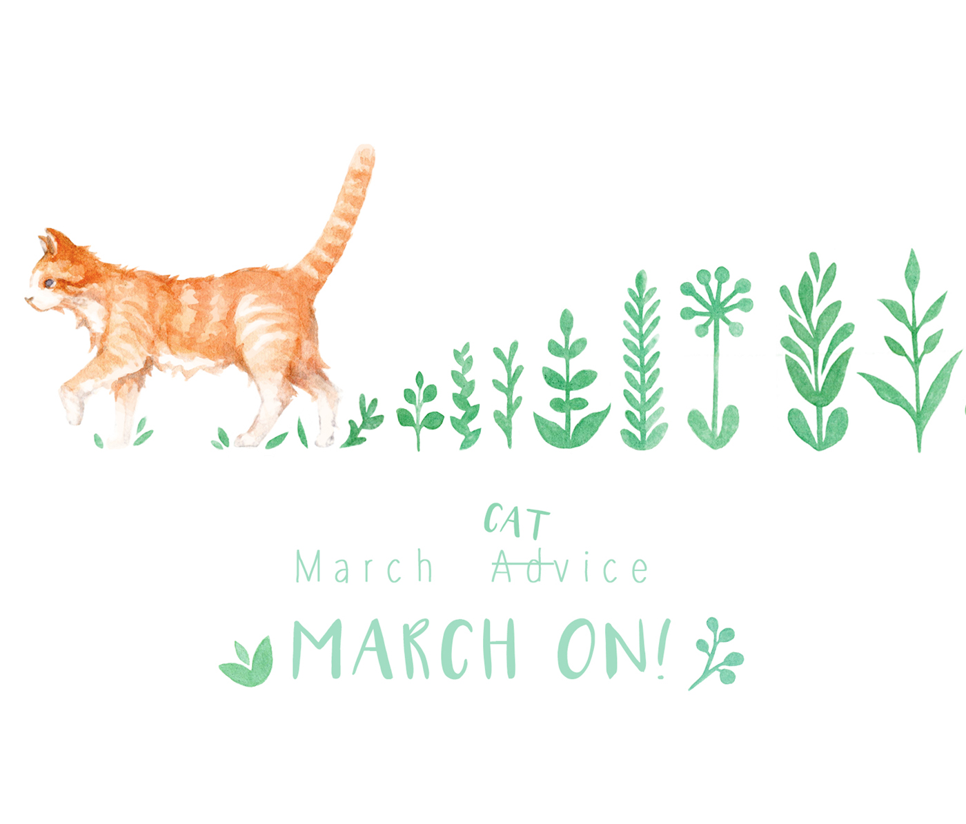 Cat illustration featured on my March printable calendar, desktop, and mobile phone wallpaper. Advice courtesy of Hedwig, my very street-smart cat. Illustrated in watercolor.