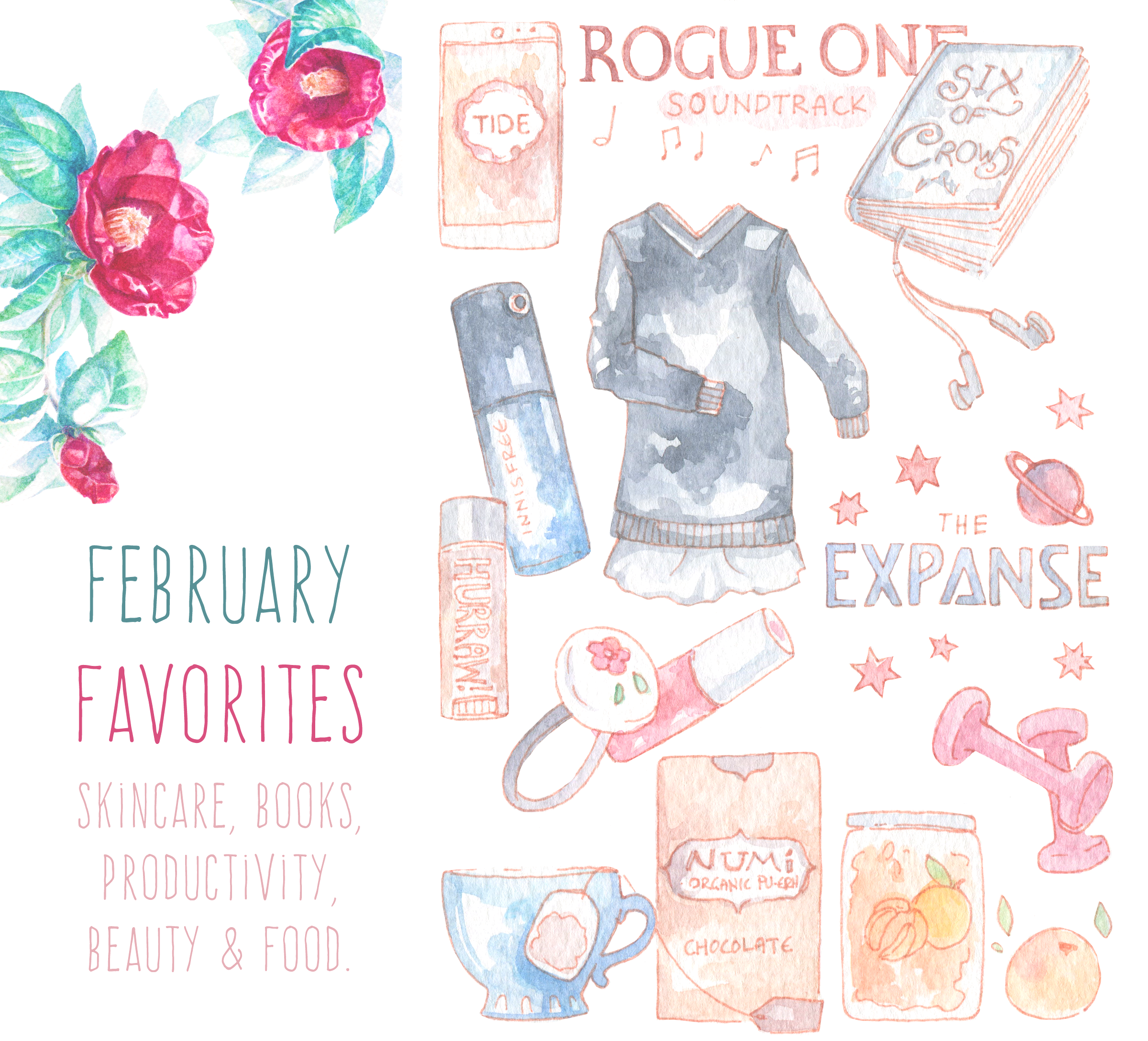 My favorites for February, illustrated in watercolor. Featuring Numi tea, Korean fruit teas and beauty products (I'm getting into anti-aging for real now that my 30s are close), a super pretty productivity app and my favorite books and show of the month (or all time, who knows?).