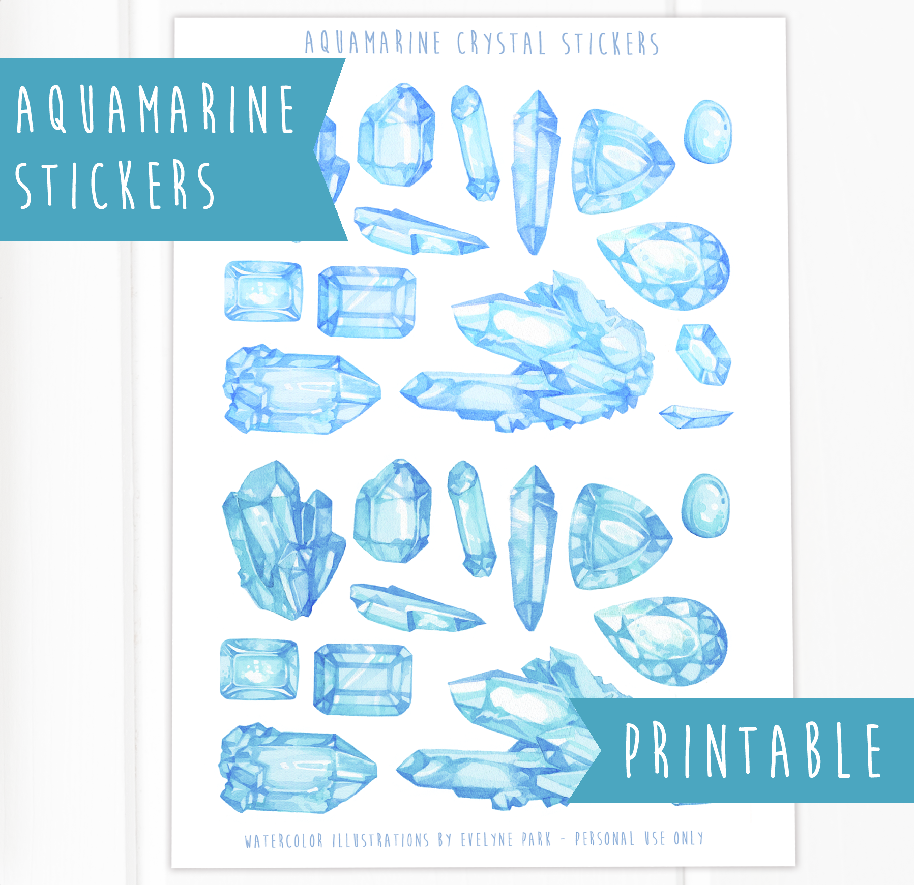 Printable version with a color variation for my aquamarine gemstones. If you're into DIY projects and have some sticker paper at the ready, you can print these yourself, as many times as you want. Crystal stickers look best printed on glossy sticker paper imo!