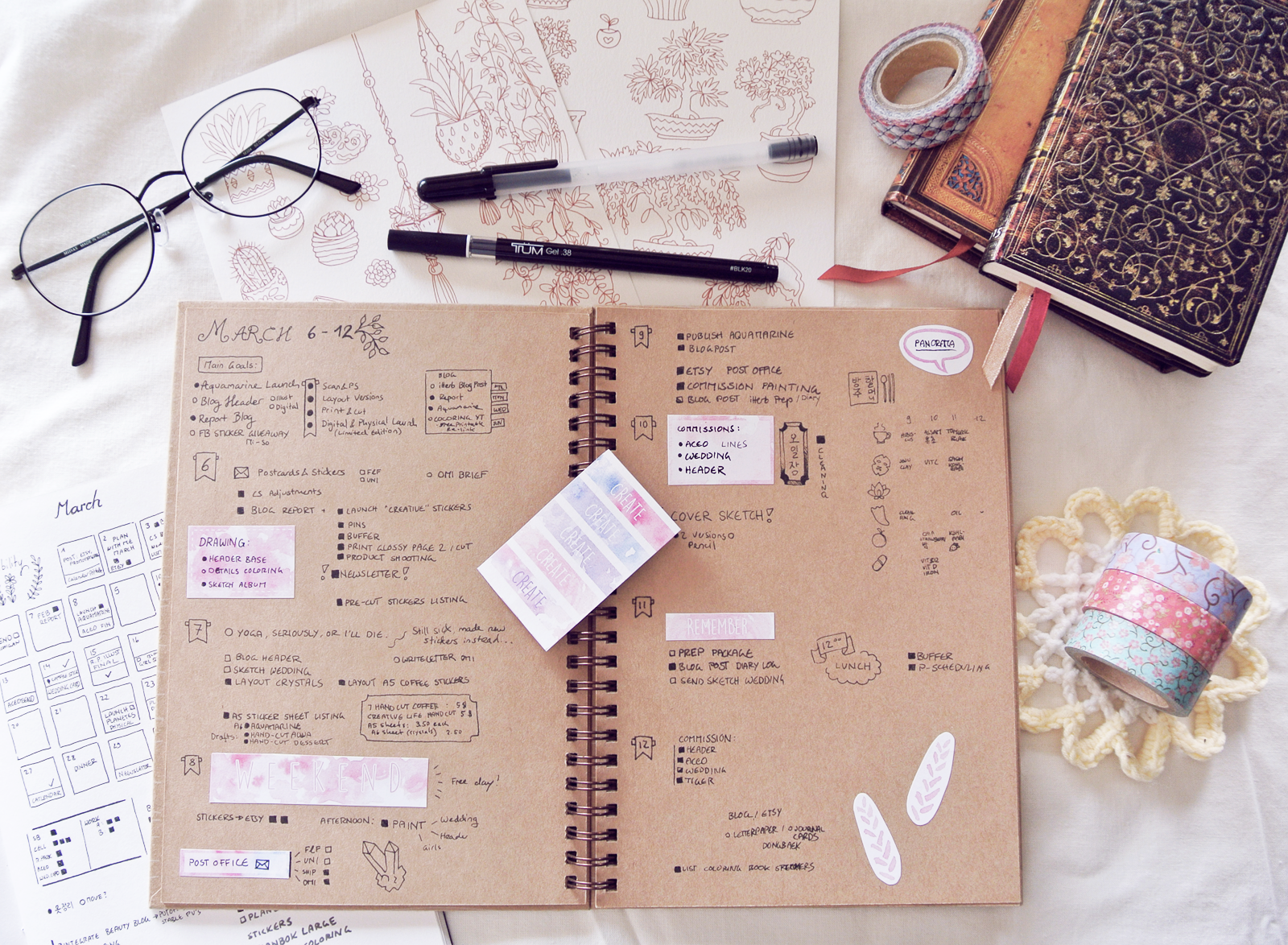 See that tiny bundle of drawings and text on the upper right side of the journal? That's my first attempt at tracking my habits. Note the empty space next to the lotus flower, which was supposed to track yoga.