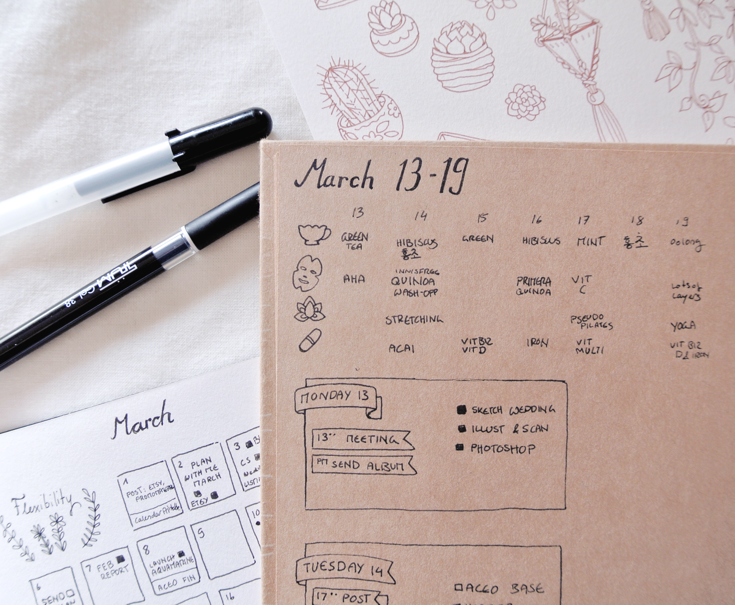 Self-care habit tracker experiment in my bullet journal. Tea, skincare, yoga and supplements.