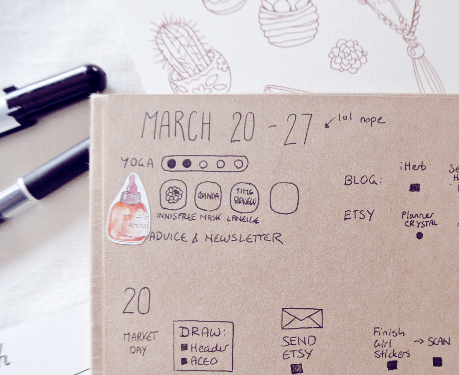 Mistakes in my bullet journal. Messed up the date of all things... and the stickers hides a smudged drawing for my skincare habit tracker.