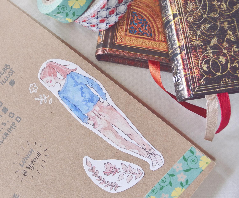 Girl sticker to decorate my Kraft paper bullet journal.