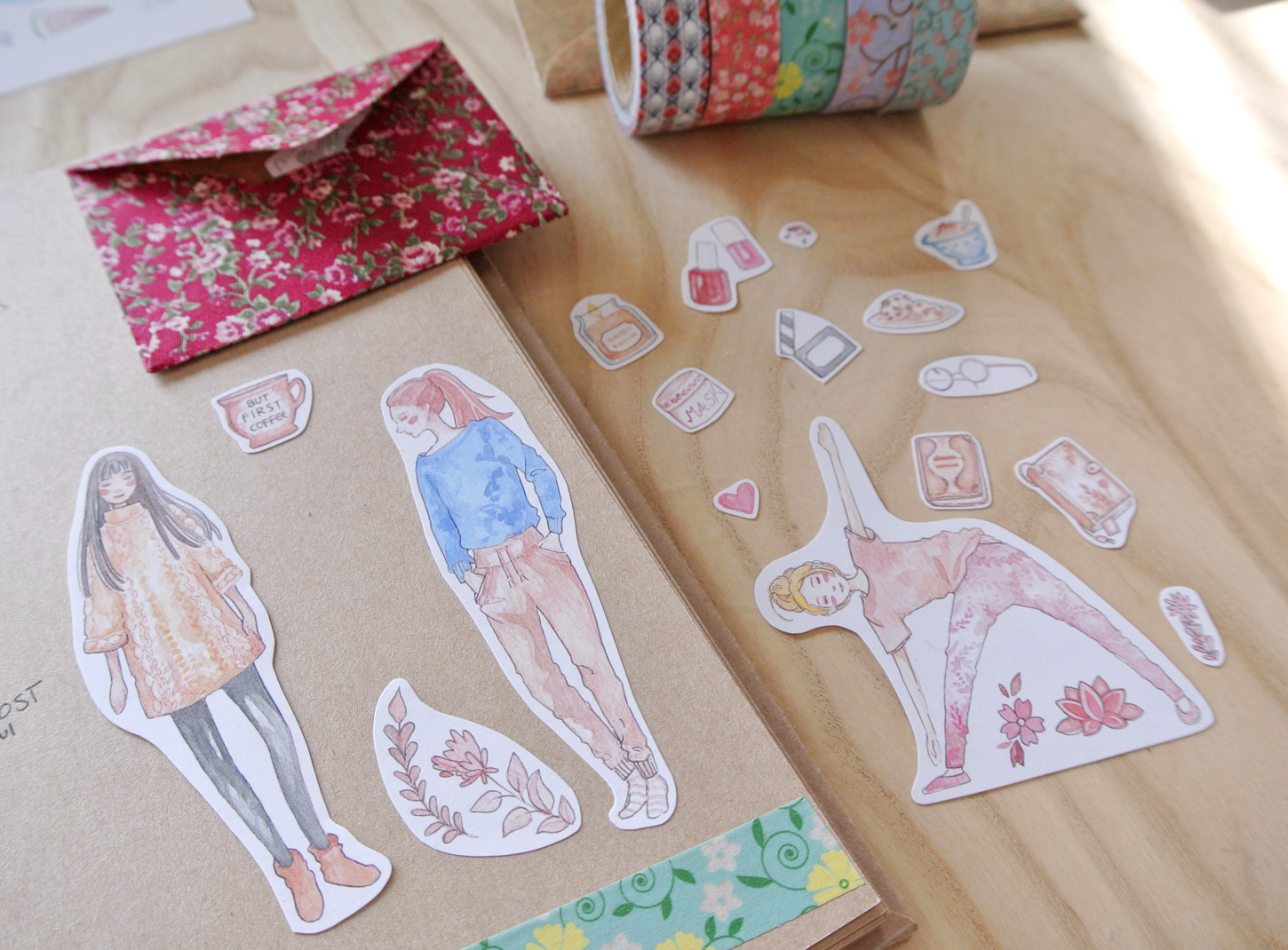 Girl 'lazy day' stickers - yoga, self-care stickers.