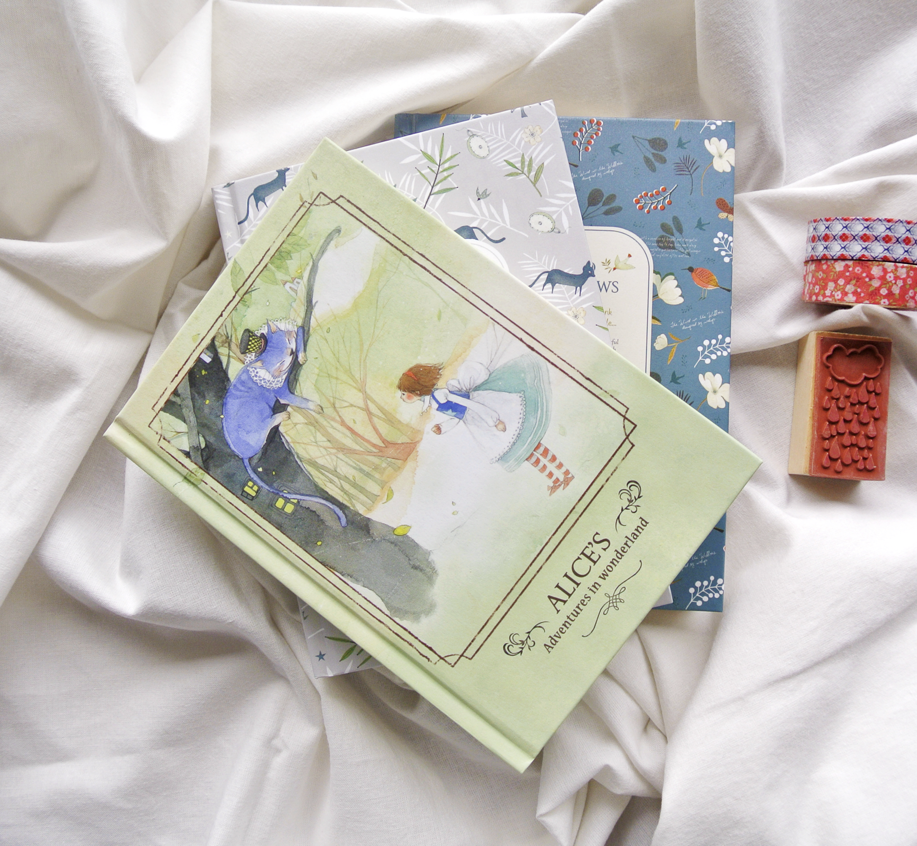 Pretty hardcover journals, Korean stationery, Alice in Wonderland, Washi Tape, Bullet Journaling.