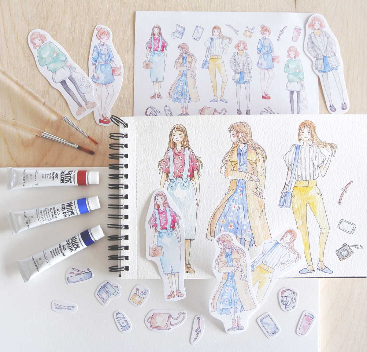 Girl stickers inspired by Korean dramas and fashion.