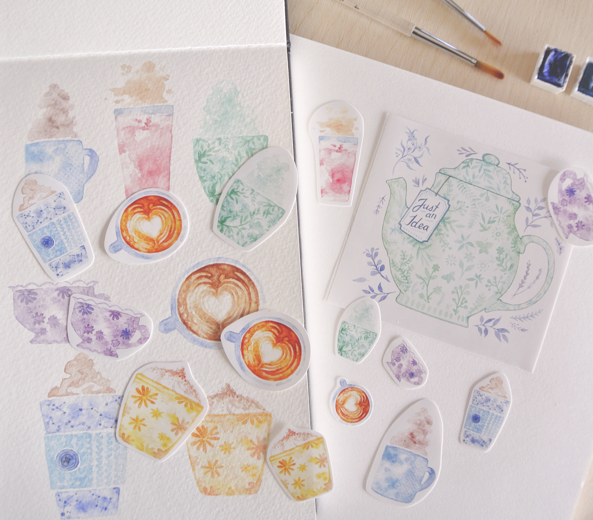 Coffee and tea watercolor sticker flakes.