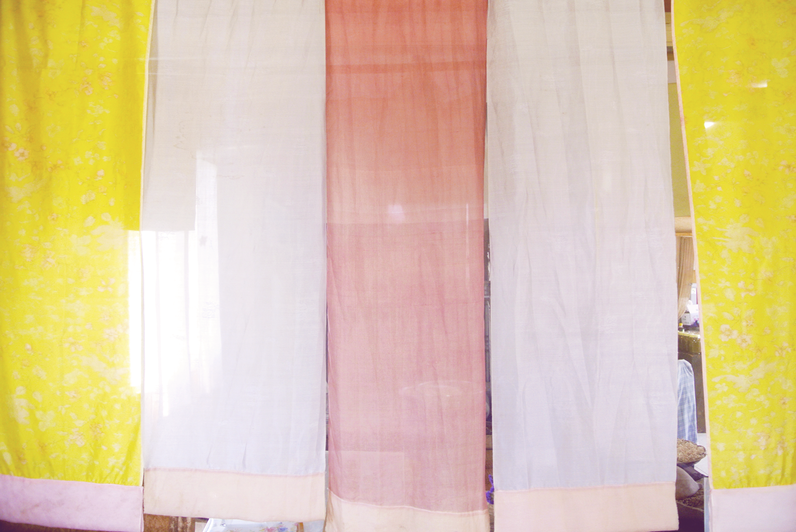 Colorful curtains at the Korean traditional restaurant 'Jayeoneuro' on Jeju Island.
