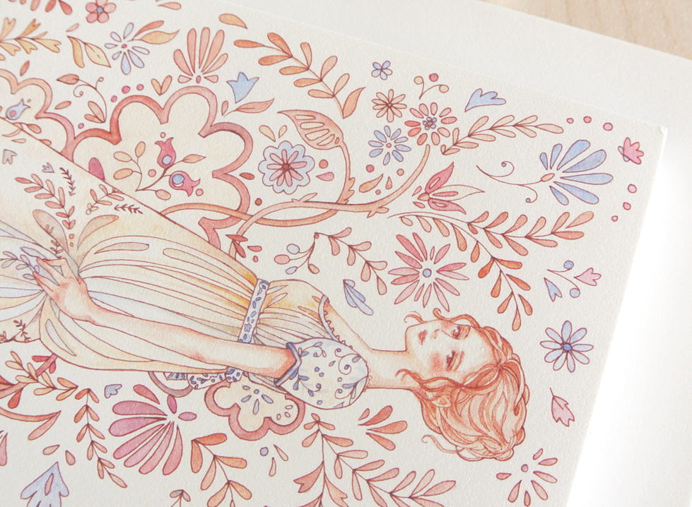 Everything about Regency fashion is soft and delicate, so when it came to coloring the illustration, I used rosy, beige and blue pastel hues.