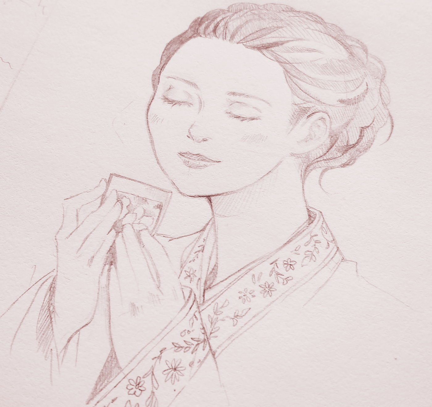 Facial expression study in pencil for the drawing of a lady wearing Hanbok, drinking tea.