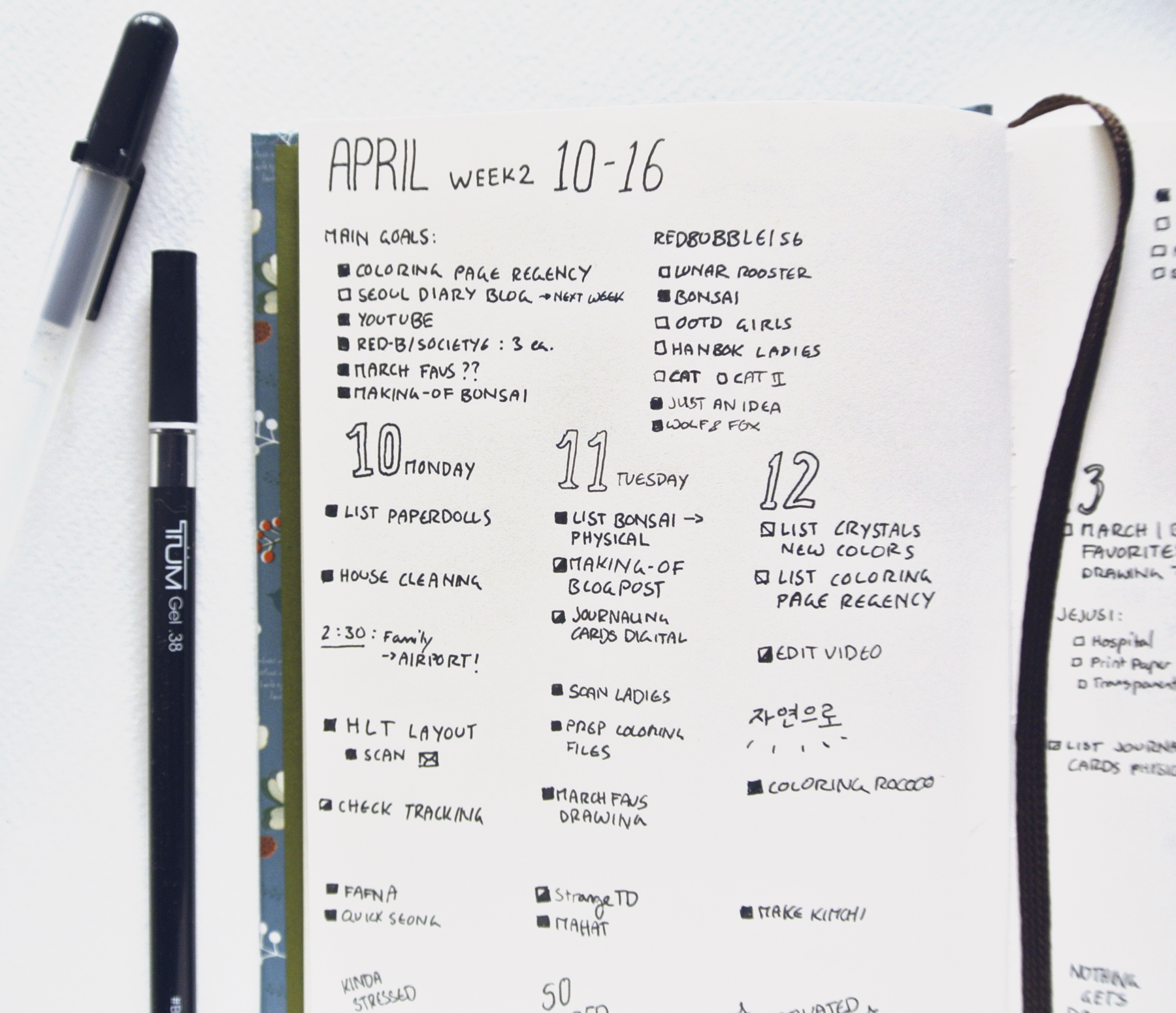 Productivity & Motivation in my Bullet Journal. Lots of task lists!