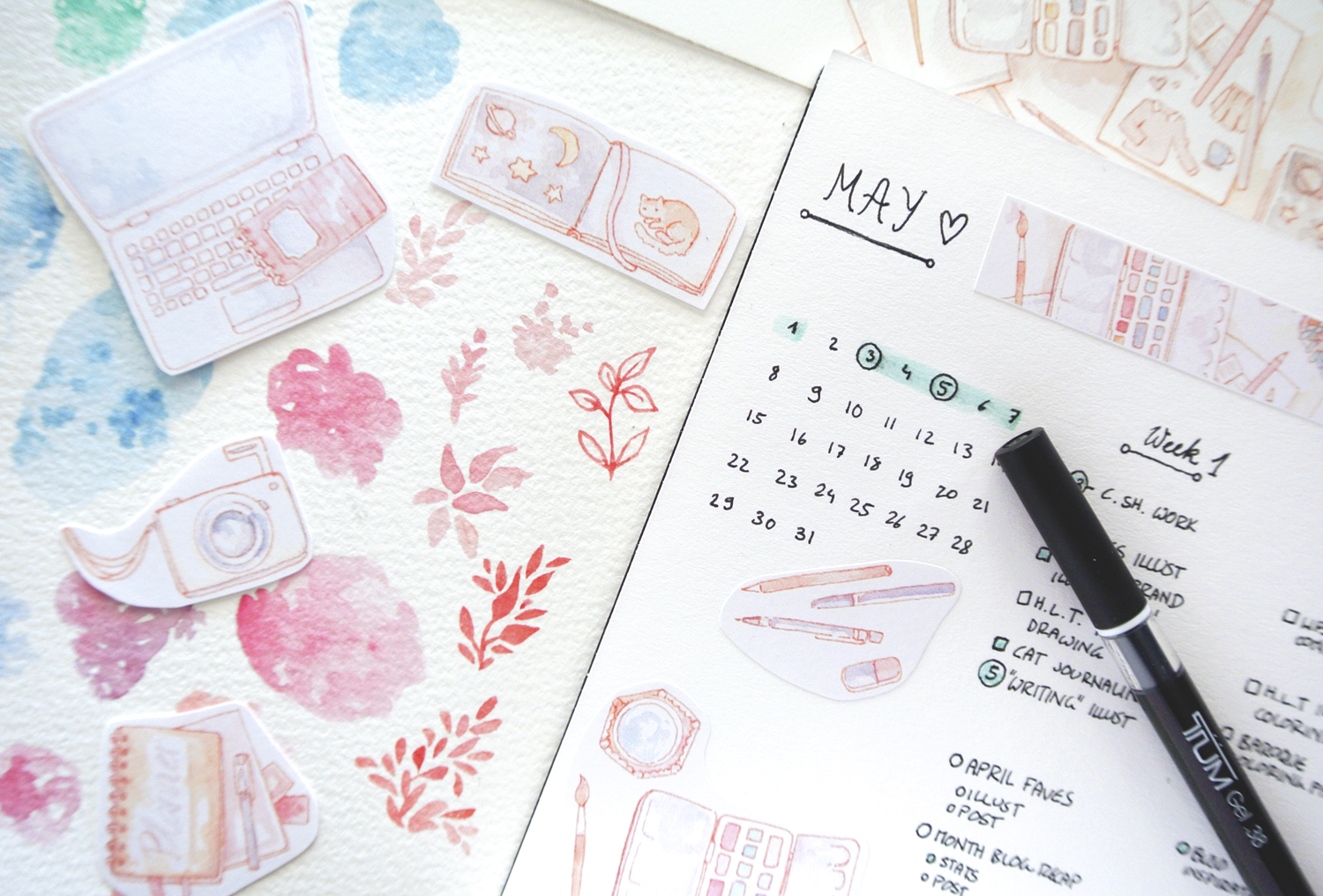 My blog and business goals for May! A monthly layout in my bullet journal for blog planning...